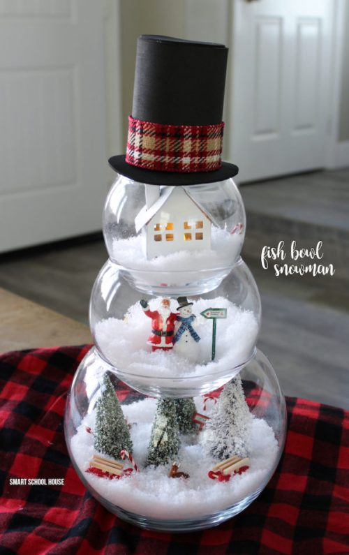 DIY Fish Bowl Snowman by Smart School House - 30 Incredible Dollar Store DIY Christmas Decor Ideas. Easy to make decorations that you can do on a small budget. Make beautiful and easy centrepieces, ornaments, candle holders and mason jar crafts. These awesome Dollar Tree DIY Christmas crafts are simple enough to be made with your kids. Just click on this to find out more or pin for later!