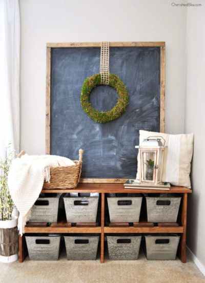 DIY Easy Farmhouse Bench Tutorial - DIY Rustic Farmhouse Decor Projects for Your Country Chic Cottage. Joanna Gaines would even be amazed at how easy these DIY farmhouse decor ideas are! Click to find out more today!