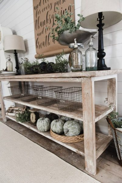 DIY Farmhouse Style Buffet - Easy DIY Farmhouse Decor Ideas Using Dollar Store Items. These cheap DIY rustic decor projects are perfect for your fixer upper style home. #Farmhouse #FarmhouseDIYS #DIYFarmhouseProjects #DIYFarmhouseCrafts