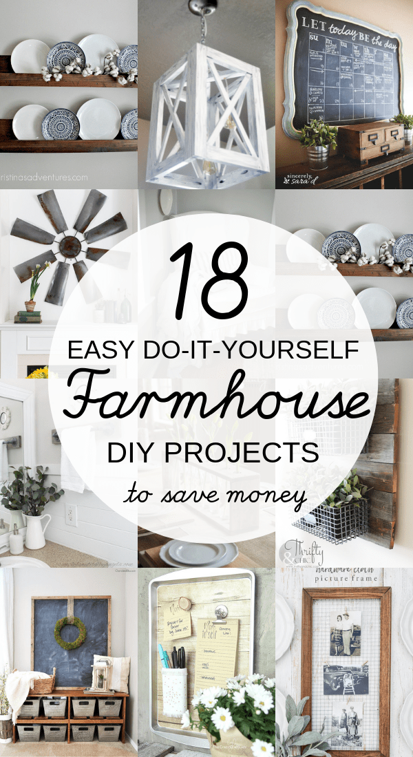 DIY Farmhouse decor ideas that are so easy to do you have no excuse not to try them! These cheap DIY rustic decor projects will change the look of your bedroom, mantle, living room, and bathroom on a small budget! #Farmhouse #FarmhouseDIYS #DIYFarmhouseProjects #DIYFarmhouseCrafts