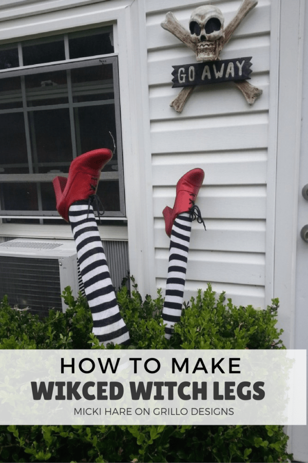 DIY Wicked Witch Legs- The Best DIY Halloween decorations for outdoor and yard to turn your porch into a haunted house. How to make graveyards, spider webs, chicken wire ghosts and other awesome and scary. These are so easy to make even kids can do them. #halloween #halloweendecorations