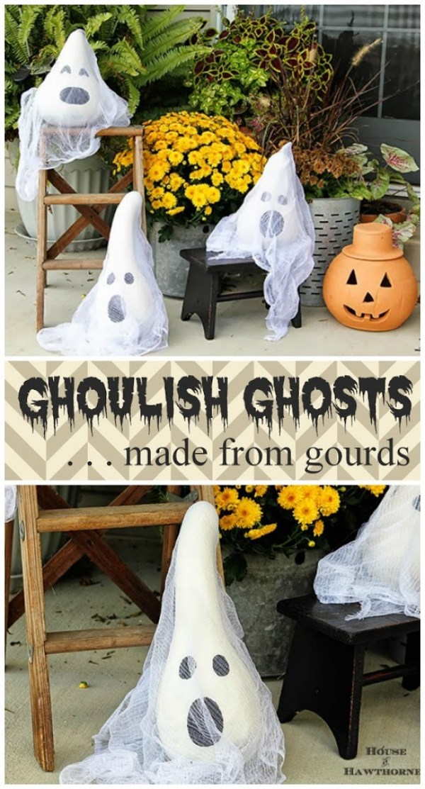 DIY Halloween Ghosts Made From Gourds- The Best DIY Halloween decorations for outdoor and yard to turn your porch into a haunted house. How to make graveyards, spider webs, chicken wire ghosts and other awesome and scary. These are so easy to make even kids can do them. #halloween #halloweendecorations
