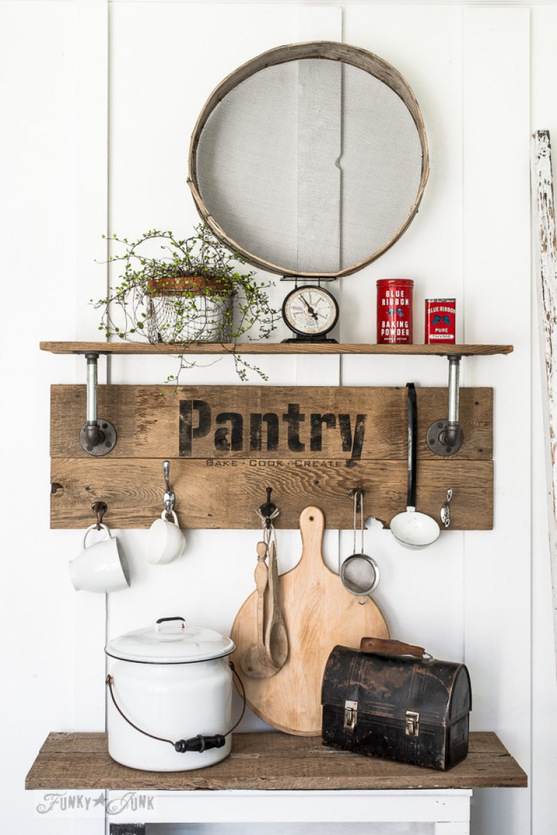 DIY Industrial Farmhouse Pantry Sign. 14 DIY Farmhouse Signs you can make on a small budget. Farmhouse decor can cost a lot but these rustic wood signs are affordable to make. If you love Joanna Gaines than you have to try these projects! Guide to how to make a farmhouse sign, farmhouse signs for kitchen, bathroom farmhouse sign DIY, DIY wood signs, Farmhouse Sign Decor, Make you own farmhouse sign, farmhouse signs DIY guide