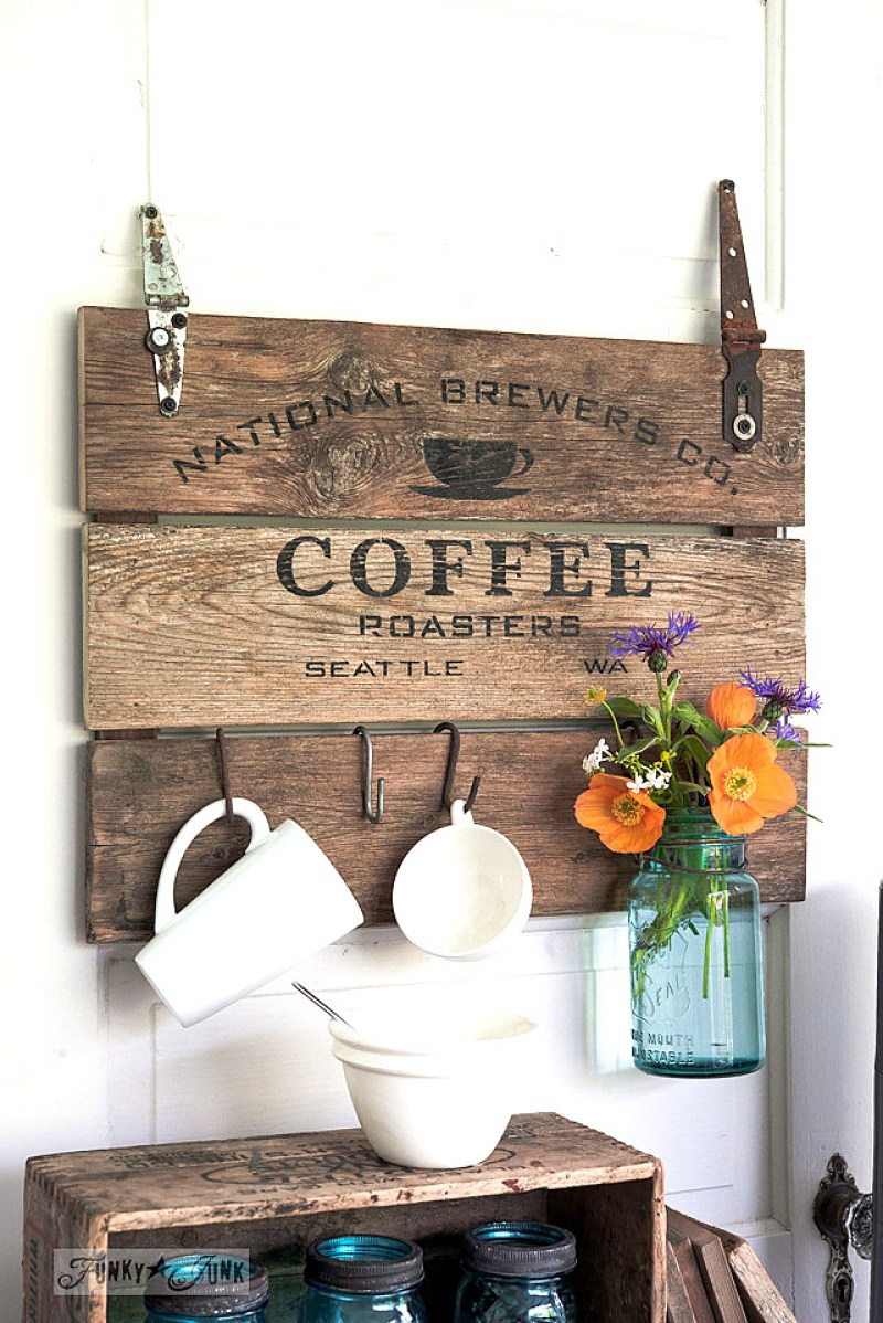 DIY Coffee Crate Farmhouse Sign. 14 DIY Farmhouse Signs you can make on a small budget. Farmhouse decor can cost a lot but these rustic wood signs are affordable to make. If you love Joanna Gaines than you have to try these projects! Guide to how to make a farmhouse sign, farmhouse signs for kitchen, bathroom farmhouse sign DIY, DIY wood signs, Farmhouse Sign Decor, Make you own farmhouse sign, farmhouse signs DIY guide