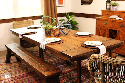 Ikea Farmhouse Table Hack - DIY projects with a rustic fixer upper style to create easy ikea farmhouse furniture & decor. These budget friendly decor pieces and ikea hacks are so easy to create with just a few items. Try a Ikea farmhouse hack today to completely change the look of your bedroom, kitchen, entryway and living room.