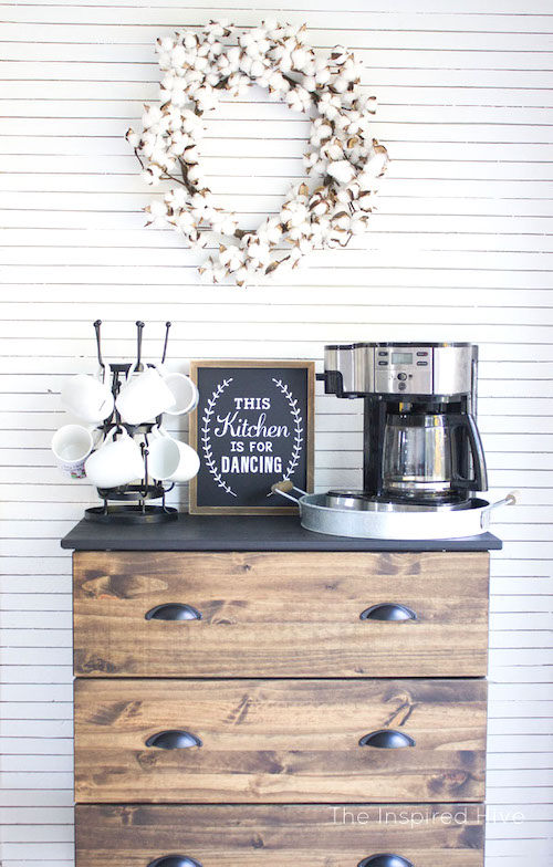 DIY Farmhouse Coffee Station - Best Rustic Ikea hacks & modern farmhouse must haves to create a stunning fixer upper style modern farmhouse look. From Ikea farmhouse table hack to Ikea farmhouse kitchen hacks and more. Check out these incredibly simple farmhouse decor using Ikea hacks!