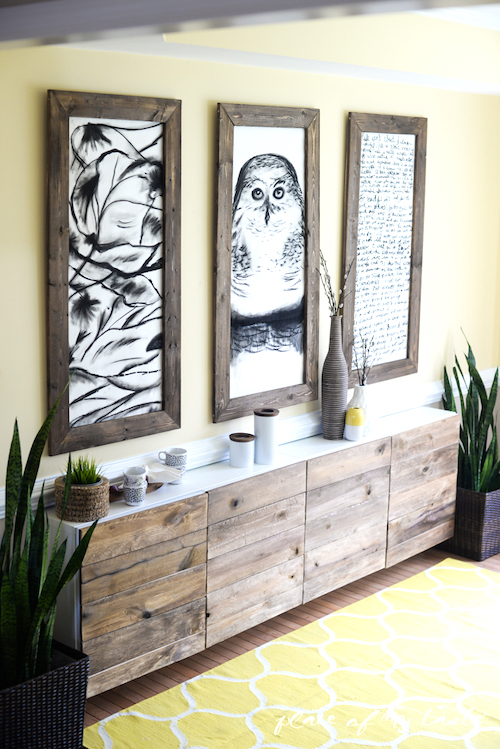 Ikea Reclaimed Wood Buffet Hack - Best Rustic Ikea hacks & modern farmhouse must haves to create a stunning fixer upper style modern farmhouse look. From Ikea farmhouse table hack to Ikea farmhouse kitchen hacks and more. Check out these incredibly simple farmhouse decor using Ikea hacks!