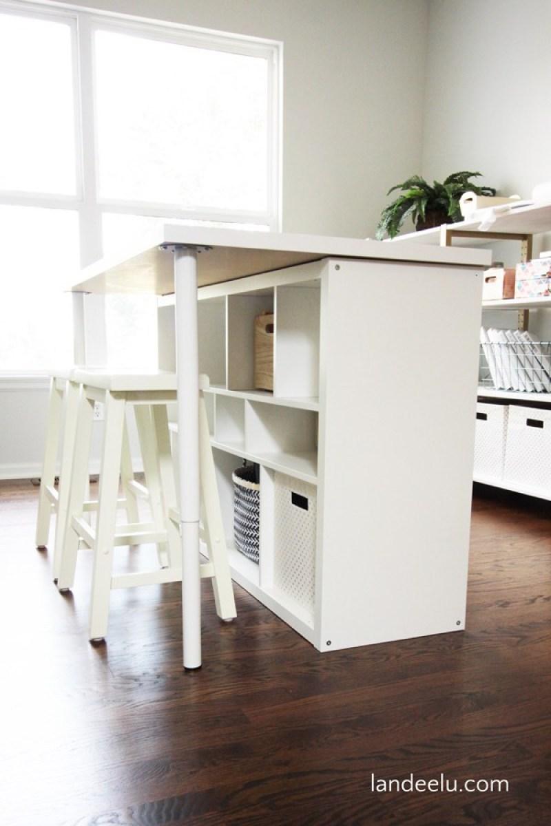 DIY Craft Room Work Table - 21 genius DIY IKEA Kallax hacks to organize your bedroom, playroom, kitchen, entryway, closet, and office. #ikeahack #ikeakallax #kallax #ikeafarmhouse #ikeaideas #ikea