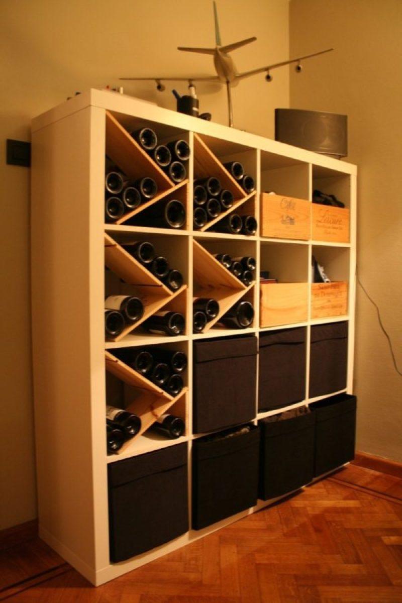 Ikea Kallax as Wine Storer - 21 genius DIY IKEA Kallax hacks to organize your bedroom, playroom, kitchen, entryway, closet, and office. #ikeahack #ikeakallax #kallax #ikeafarmhouse #ikeaideas #ikea