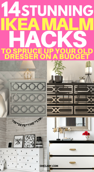 OMG! Who could have known your old Ikea Malm dresser could look this great? Change the look of your dresser with these clever Ikea Malm hacks. From 5 minute changing out handles to spray painting the dresser. Make the malm into a dresser, nightstand, vanity, kitchen island or kids dresser. Or you could even add mirror overlays and gold paint for a glamorous look or turn it into a mid-century masterpiece. #ikeahack #ikea #ikeahacks #malm #malmdresser #diyhomedecorideas #diyhomedecor