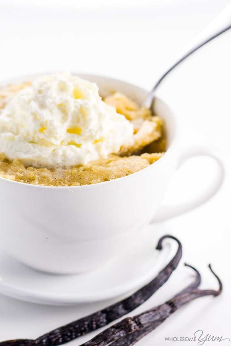 Easy Keto Vanilla Mug Cake | 13 Delicious Keto Mug Cake Recipes To Try Right Now #ketomugcake #ketolavacake #lowcarbbrownies #lowcarb #lowcarbsweets #ketodesserts #ketofatbombs