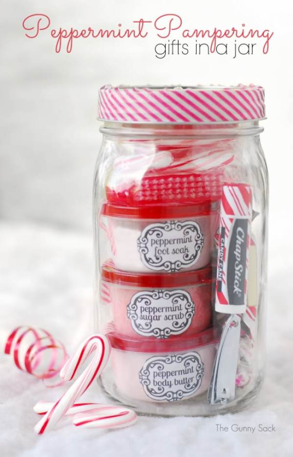 Peppermint Pampering Gift In A Jar by The Gunny Sack - I can't wait to try these 15 awesome DIY mason jar crafts to make and sell! I plan on using dollar store items to make some of these easy DIY projects and sell them at my craft fair and on Etsy for extra money. Definitely Pinning this for later!!
