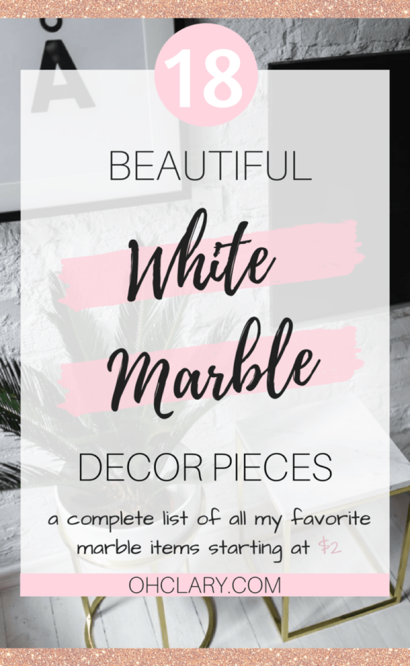 White Marble is all the rave right now, it can really make any space go from looking dull to glam in a matter of minutes!  These pieces start from $2! I have compiled a list of all my favorite marble decor pieces I have found because I am totally obsessed with anything and everything marble! #marble #diyhomedecor #homedecorideas
