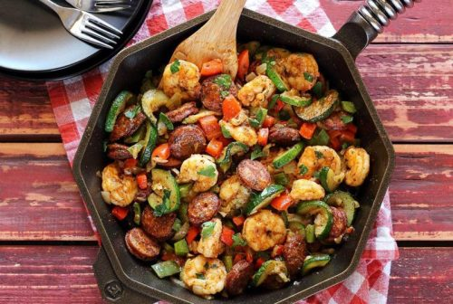 Shrimp And Sausage Skillet Meal - 22 Quick Keto Dinners. You won't believe how easy and delicious these recipes are. Low Carb recipes that can be made in the crockpot or a skillet. All of these drool-worthy recipes take 30 minutes or less to make. #keto #ketogenic #ketodiet #ketorecipes #dinnerrecipes #ketogenicdiet