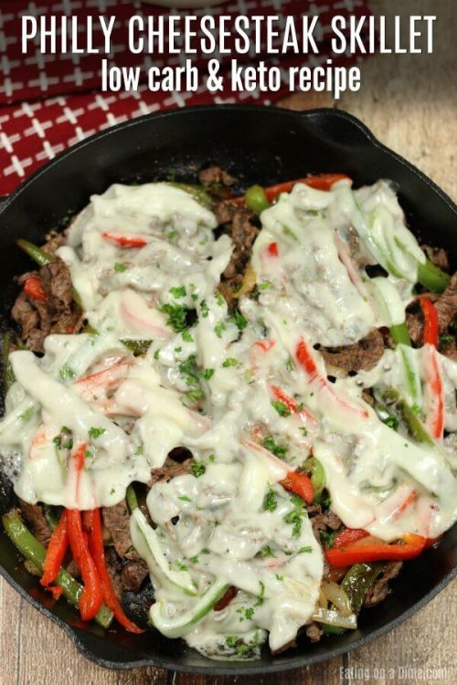 Keto Philly CheesesteakSkillet - 22 Quick Keto Dinners. You won't believe how easy and delicious these recipes are. Low Carb recipes that can be made in the crockpot or a skillet. All of these drool-worthy recipes take 30 minutes or less to make. #keto #ketogenic #ketodiet #ketorecipes #dinnerrecipes #ketogenicdiet