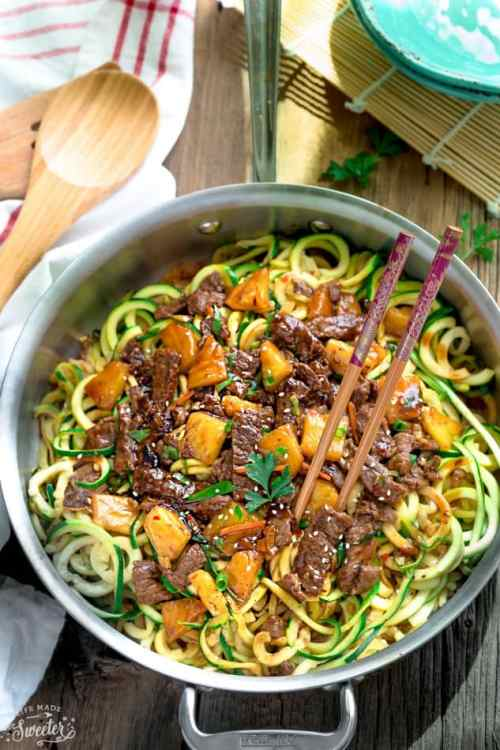 Keto One Pan Mongolian Beef Zoodles - 22 Of The Best Quick Keto Dinners. You won't believe how easy and delicious these recipes are. Low Carb recipes that can be made in the crockpot or a skillet. All of these drool-worthy recipes take 30 minutes or less to make. #keto #ketogenic #ketodiet #ketorecipes #dinnerrecipes #ketogenicdiet