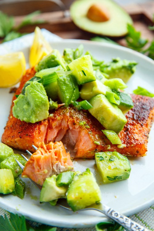 Blackened Salmon With Avocado Salsa - 22 Of The Best Quick Keto Dinners. You won't believe how easy and delicious these recipes are. Low Carb recipes that can be made in the crockpot or a skillet. All of these drool-worthy recipes take 30 minutes or less to make. #keto #ketogenic #ketodiet #ketorecipes #dinnerrecipes #ketogenicdiet
