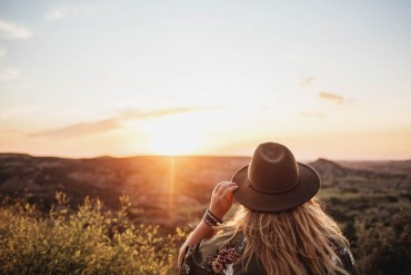 Solnedgång vid Painted Canyon