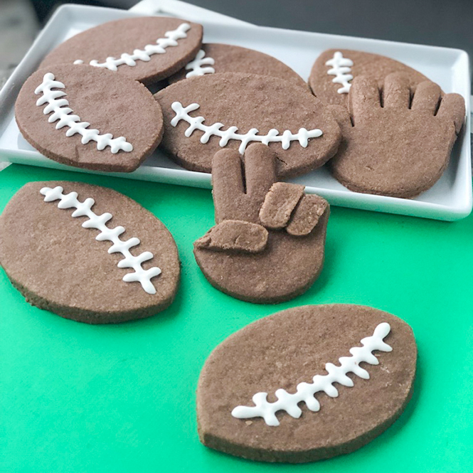 Chocolate Football and Hand Peace Sign Cookies