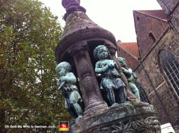 Here are some creepy cherubs around a fountain. At least they're not peeing in the water...