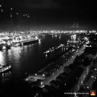 Night-View-of-Hamburg-Black-and-White-Elbe-River