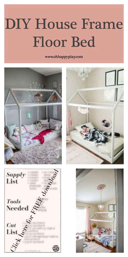 Want to create the perfect diy house frame floor bed? Find out how from Florida motherhood blogger, Oh Happy Play!