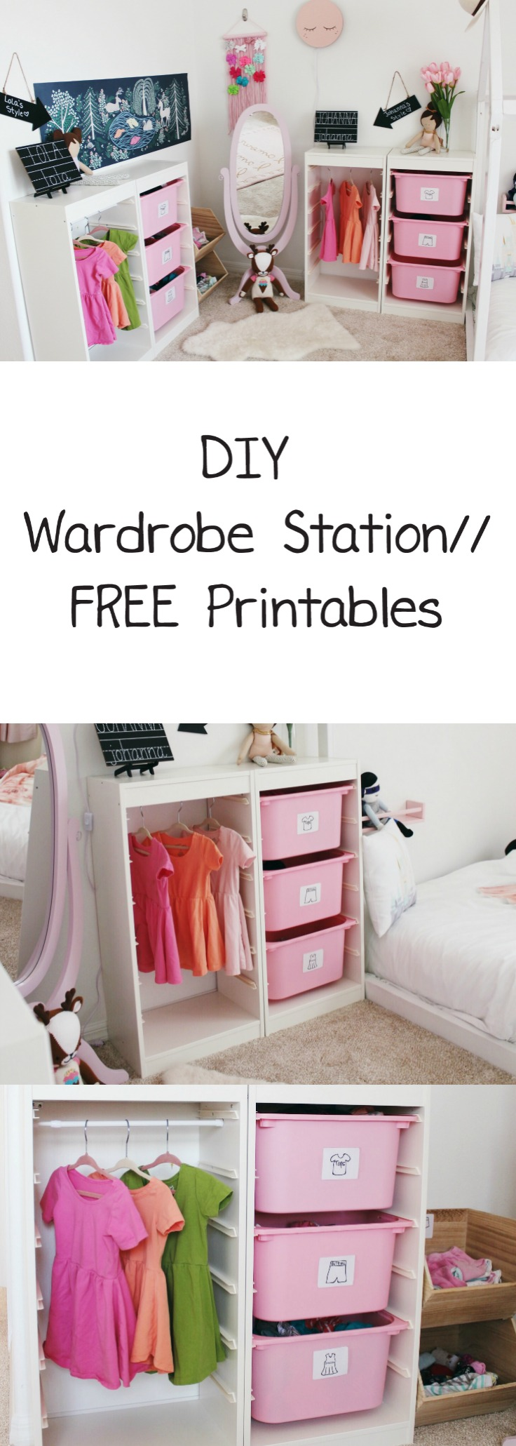 Wardrobe station, Montessori wardrobe, ikea hack, trofast hack, life hacks, mom life hacks, toddler clothing organization, organize toddler clothes, how to organize toddler clothes, how to organize children's clothes, shared bedroom clothing organization, children's wardrobe station, dress up station, clothing organization for kids, free clothing prinatbles, DIY clothing station for kids, print outs kids clothes, kids fashion, capsule wardrobe kids, DIY kids
