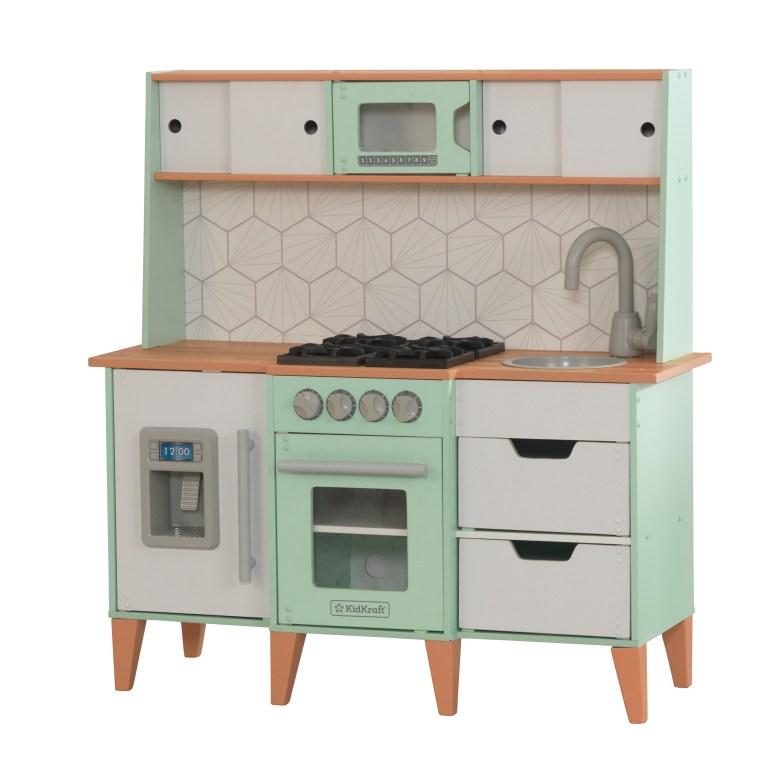 kidkraft kitchen, modern play kitchen, modern kitchen, play kitchen DIY, gender neutral play kitchen