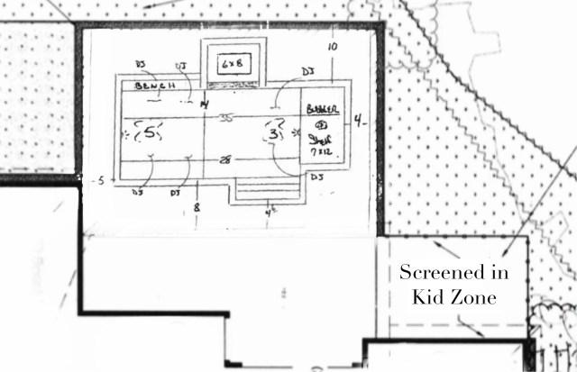 pool design, home plans, outdoor kid play area, shaded kids play area, custom home kids play area, outdoor kid activities