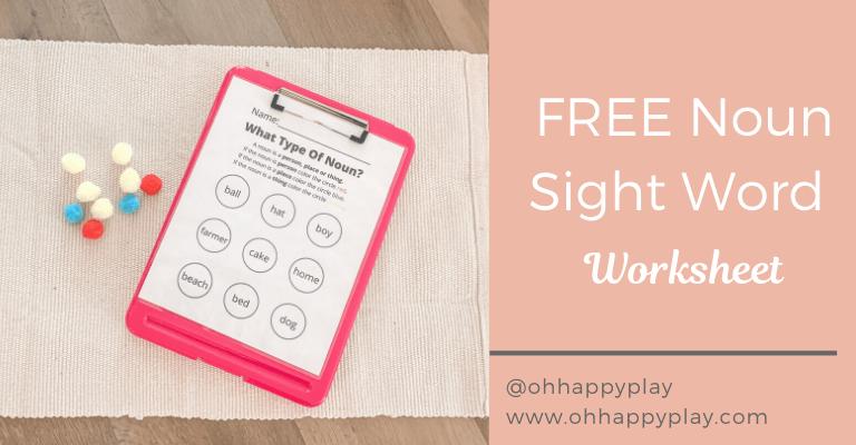 Noun Definition For Kids, Sight Word Worksheet, FREE Noun Worksheet, Montessori Noun Lesson, FREE Noun Sight Word Worksheet