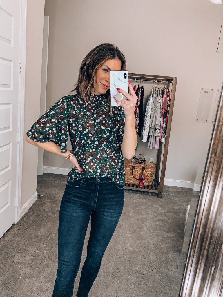 amazon sheer floral blouse