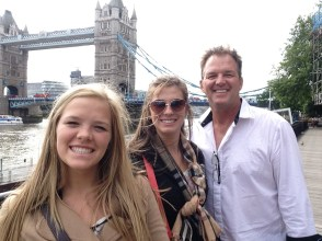 My sister, dad and I in front of Tower Bridge