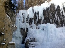 Can you spot the ice climber scaling the ice?