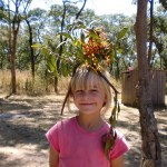 Caties flower hat she made from wild flowers