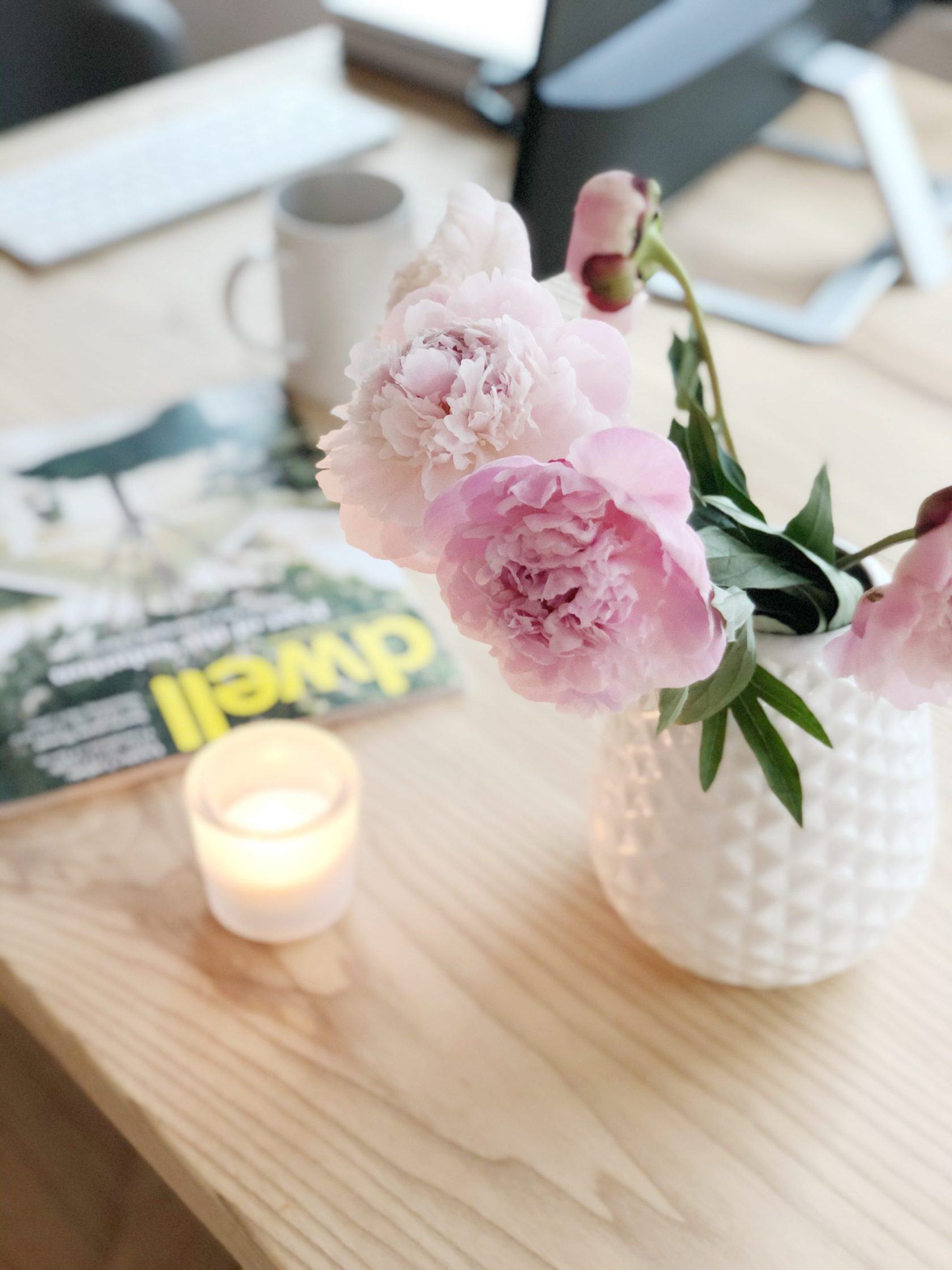 bright workspace, peonies, and workspace set-up