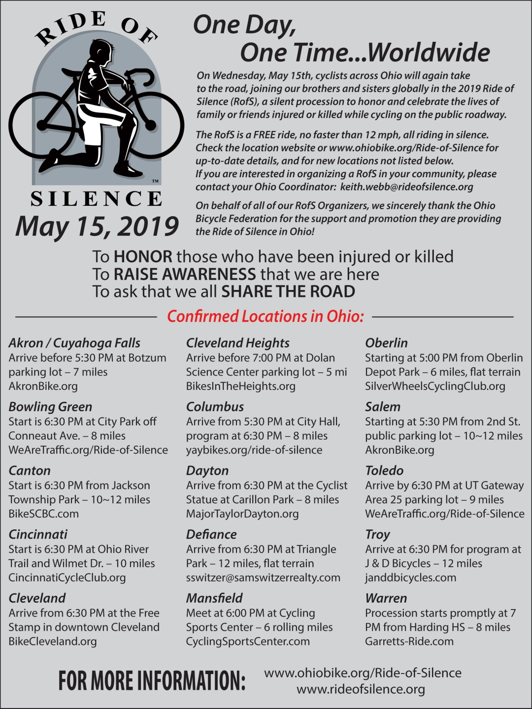 IMAGE: List of 2019 Ride of Silence Ohio Events