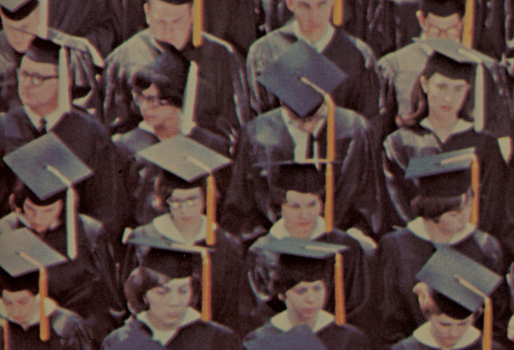 The Class of 1967 prepares for commencement. Photo courtesy of the Mahn Center for Archives & Special Collections.