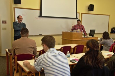 """Dan King (left) and Haroldo Nunes (right) lead the workshop """"Healing Cultural Tensions in the Church"""" at the 2018 Annual Conference Assembly."""