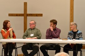 Paula Snyder Belousek poses a question to (left to right) Steve North, Matthew Peterson, and Sally Schreiner Youngquist during a panel discussion. To see more missional conference photos, go to http://bit.ly/2019MissionalConfPhotos.
