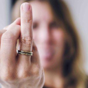 Bague pièce franc liberté égalité feminisme