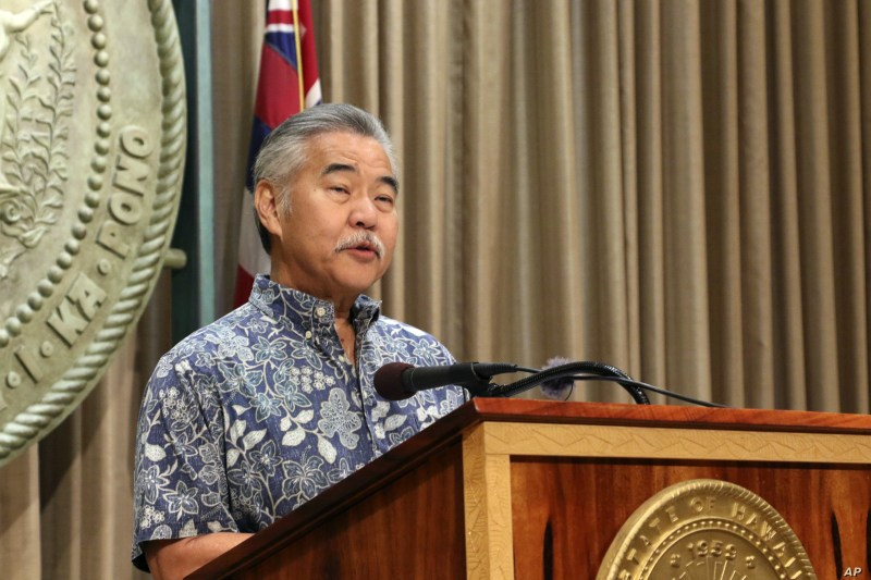 Hawaii Gov. David Ige speaks at a news conference in Honolulu, July 17, 2019, about issuing an emergency proclamation in response to protesters blocking a road to prevent the construction of a giant telescope.