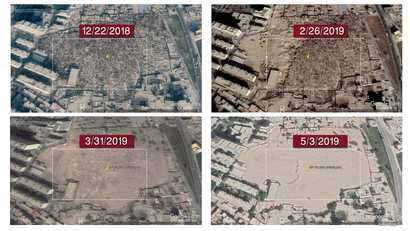 Satellite imagery with a comparative analysis of Sultanim Cemetery in Hotan city, in China's northwest Xinjiang province. (Photo courtesy of Bahram Sintas)