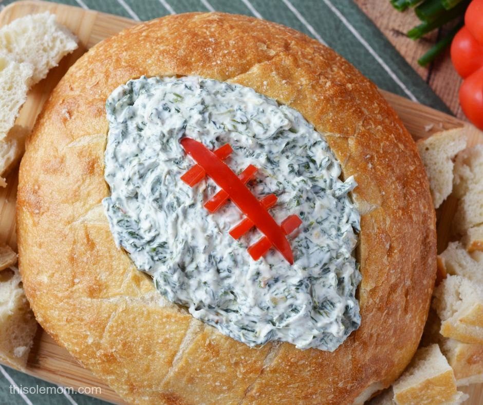 Football Inspired spinach dip- Crazy Simple Super Bowl Food Ideas Guaranteed to Wow| ohlade.com