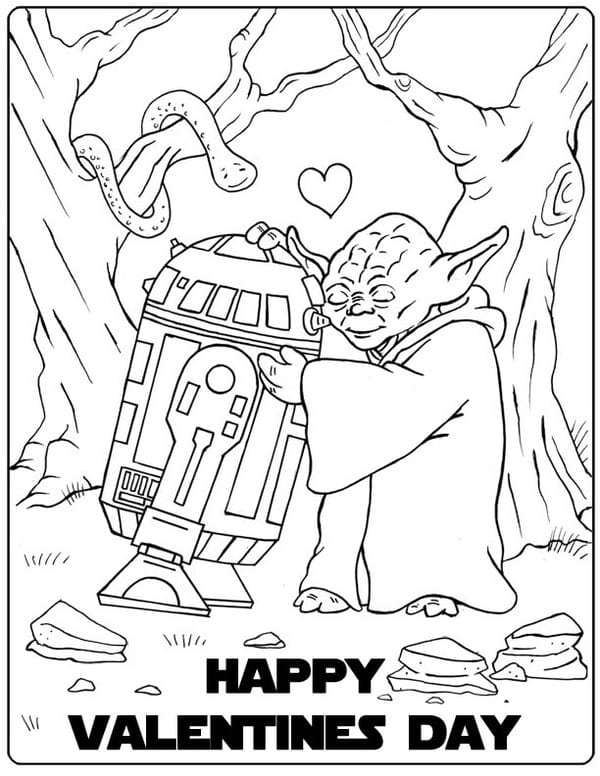 Yoda Valetines coloring page