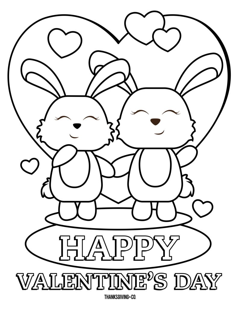 Bunny Valetines coloring page