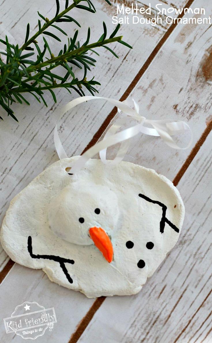 Melted Snowman Salt Dough Ornament
