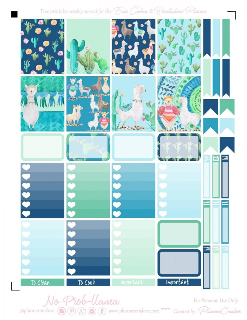 llama and cactus bullet planner stickers printables