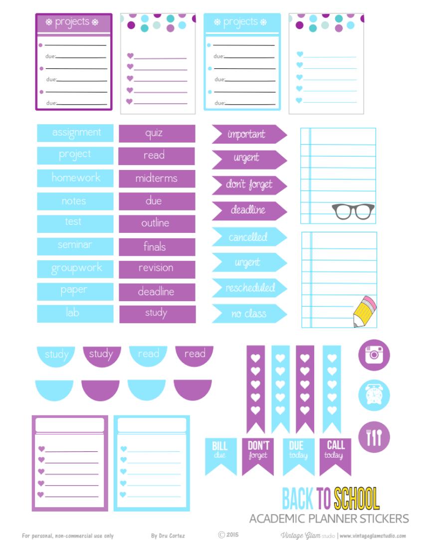 Academic Planner Stickers