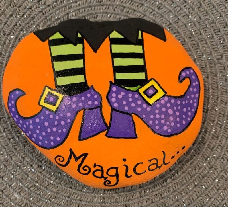 Halloween Witches Feet Painted Rocks