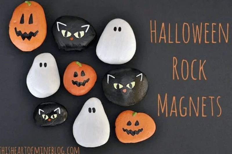 Halloween Painted Rock Magnets